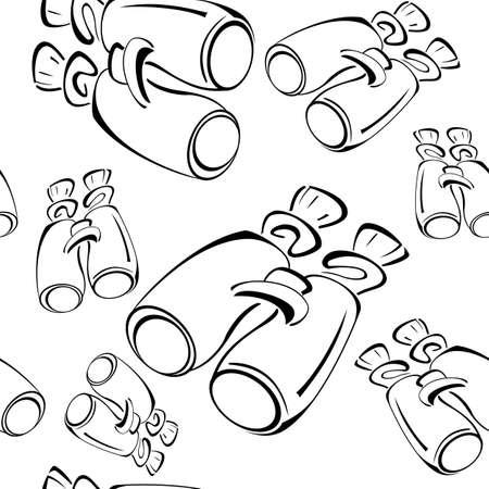Black and white contour binoculars  seamless pattern