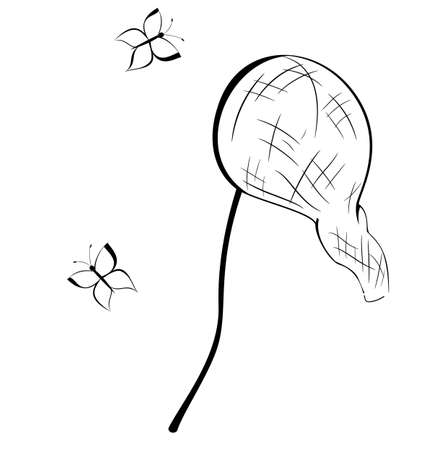 Black and white contour butterfly net   Illustration