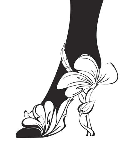 Black and white contour eco shoe  illustration