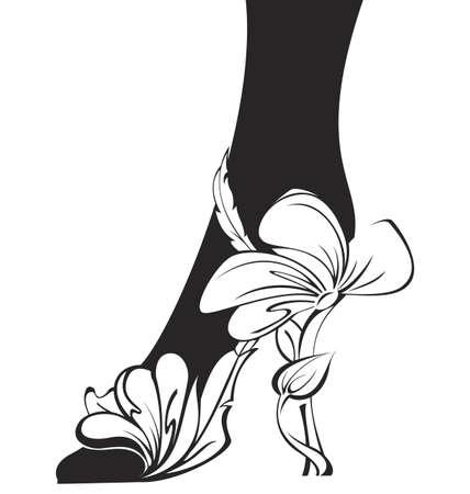 Black and white contour eco shoe  illustration  Illustration