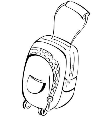 luggage bag: Black and white contour luggage bag  illustration