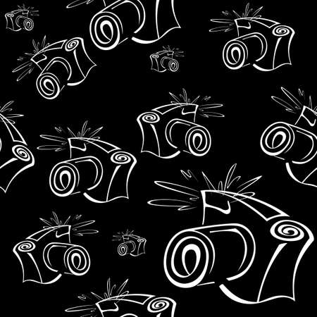 Black and white contour photo camera  seamless pattern  Vector