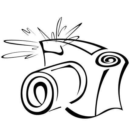 黒と白の輪郭の写真カメラのベクトル図