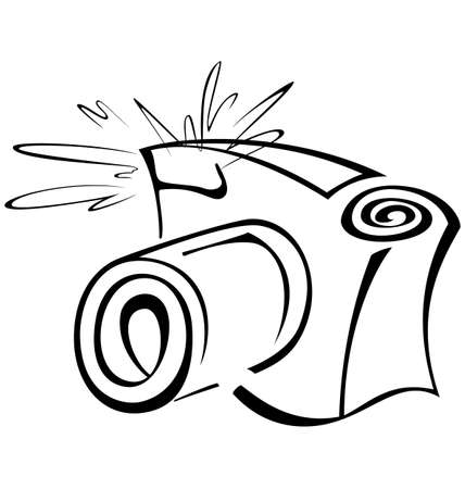 Black and white contour photo camera vector   illustration  Vector
