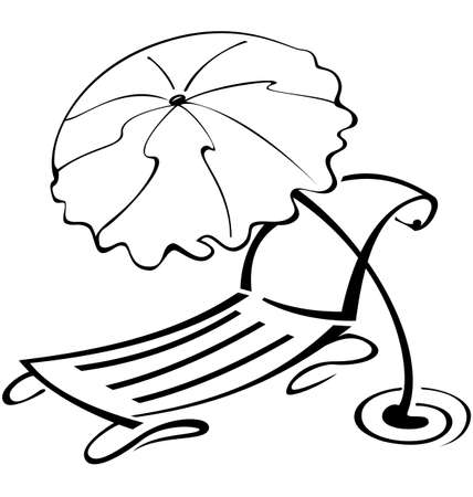 Black and white contour umbrella and beach chair   vector illustration  Иллюстрация