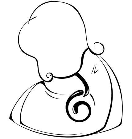 hand bag: La mujer en blanco y negro el contorno bolsa de mano ilustraci�n vectorial