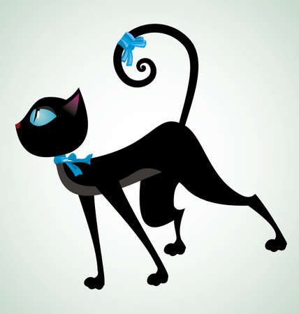 Vector illustration of a black cat with blue ribbon on neck   Vector