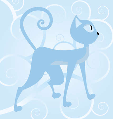 illustration of a blue cat on spiral background   Stock Vector - 14579191
