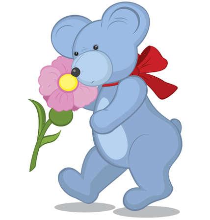 snuffelen: Blauwe teddybeer met bloem illustratie op wit Stock Illustratie