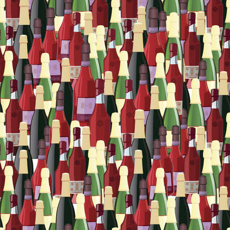 Bottles seamless pattern illustration   Vector
