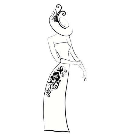 evening gown: Illustration of young woman in evening gown..