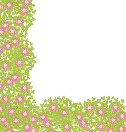 Decorative corner element with pink flowers on green leaves  illustration