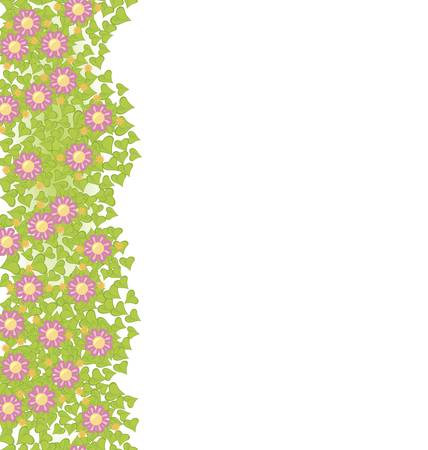 Decorative seamless element with pink flowers on green leaves illustration