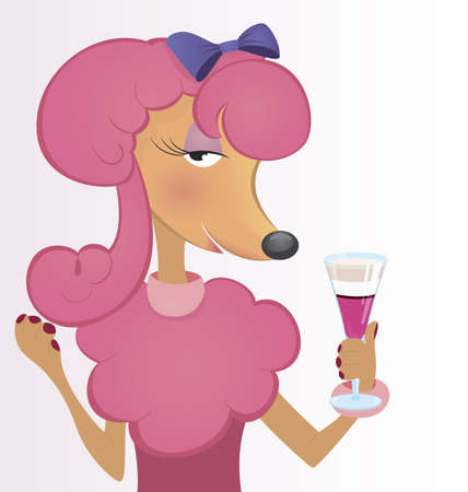 Cartoon character dog holding bottle and glass of wine illustration