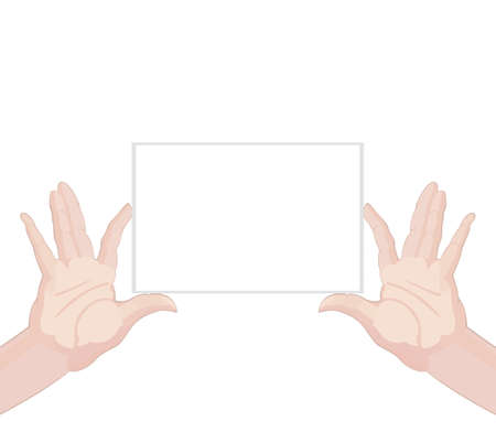 raise the thumb: Human hands holding blank paper on white background vector illustration