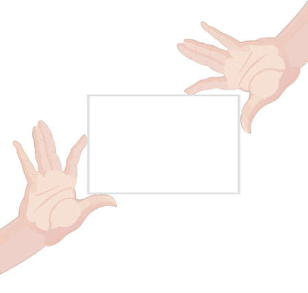 Human hands holding blank paper on white background illustration