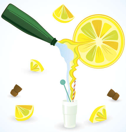 Sparkling water mixing with fresh lemon juice illustration Illustration