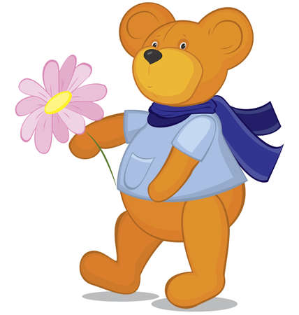 Teddy bear with flower  in blue scarf   Vector