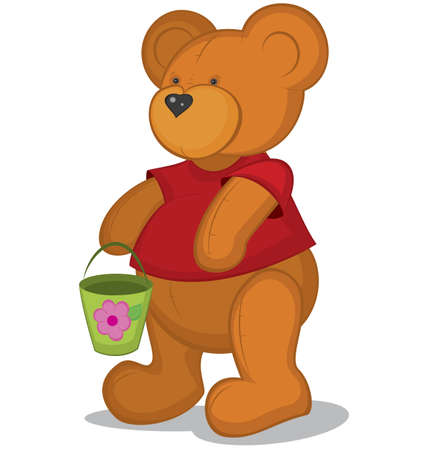 Teddy bear with pail in red T-short vector  illustration on white Stock Vector - 14579154