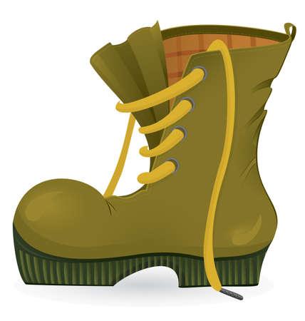 Worn travel shoe close-up  illustration on white background