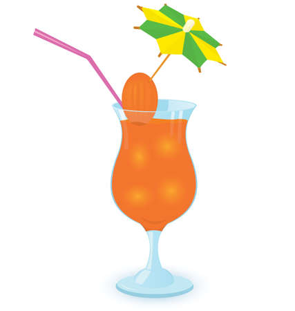 illustration of a cocktail decorated with umbrella toothpick on white background