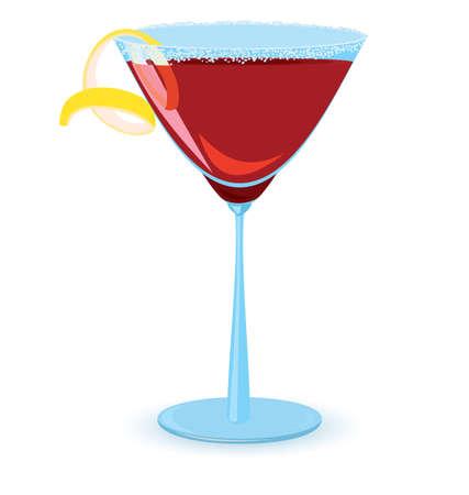 cosmopolitan: illustration of cosmopolitan cocktail on white background