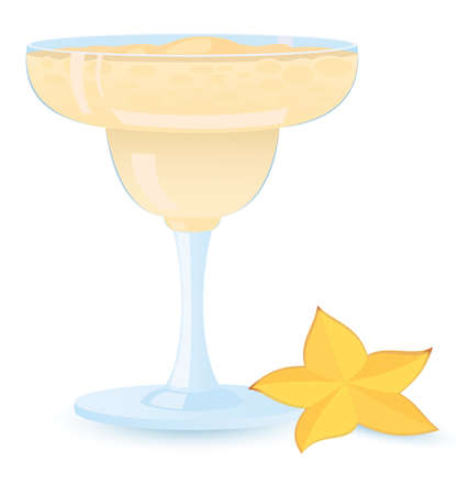 cremoso: illustration of creamy  cocktail  with star fruit white background Ilustra��o