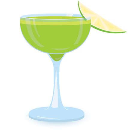 illustration of green cocktail on white background