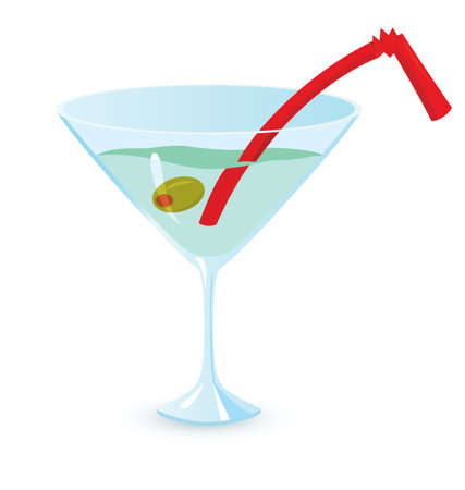 vermouth: illustration of martini cocktail on white background