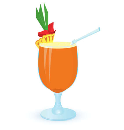 illustration of pineapple cocktail on white background