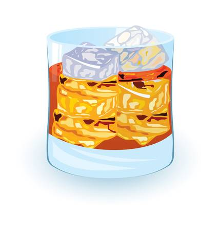illustration of scotch on rocks cocktail on white background Vector