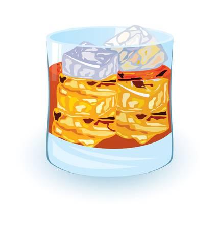 scotch: illustration of scotch on rocks cocktail on white background