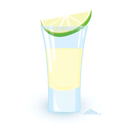 glass reflection: illustration of tequila cocktail slice of lime and some salt on white background