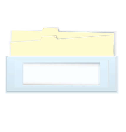 illustration blue box with copy space and yellow folders isolated on white