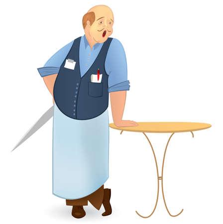 yawing: ilustraci�n de un cocinero con un car�cter audaz gui�ada cuchillo dibujos animados aislado en blanco Vectores