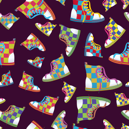 illustration of a checked sneaker seamless pattern    Ilustração