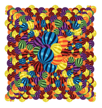 big size:  illustration of many colorful balls in a big pile
