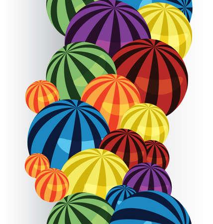big size:  illustration of many colorful balls vertical seamless border