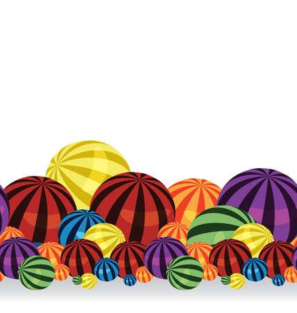 big size: illustration of many colorful balls horizontal seamless border