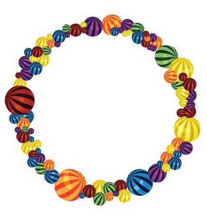 big size: illustration of many colorful balls circle