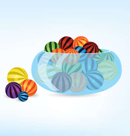 illustration of many colorful balls in crystal bowl  Vector