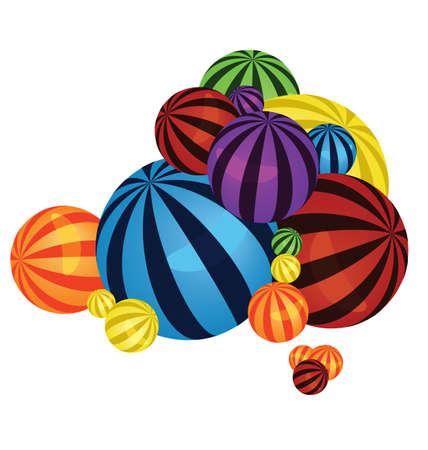 big size: illustration of many colorful balls pile