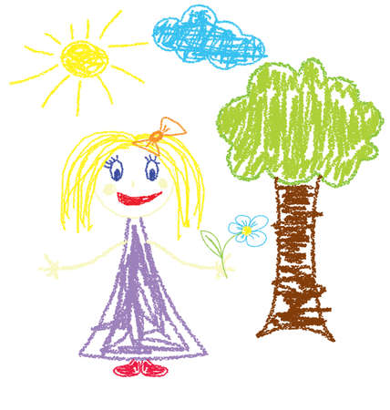 illustration of crayon painted girl with flower  Vector