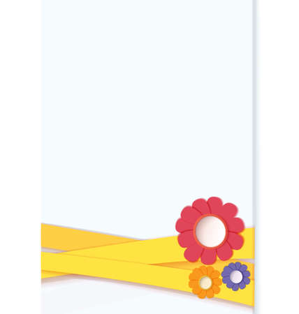 crafted: illustration of blue card tied with ribbon and decorated with paper crafted flowers