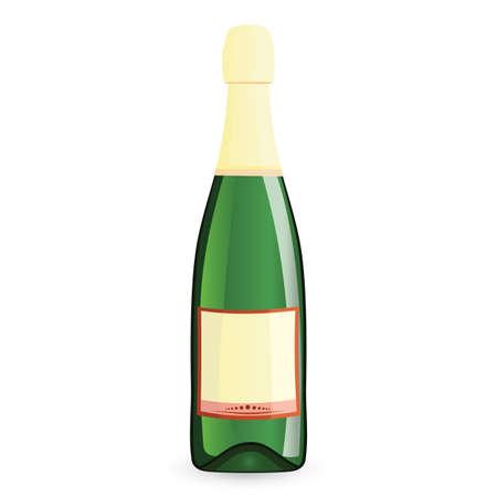 champagne celebration:  illustration of green bottle on isolated white background