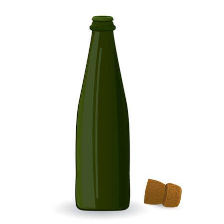 illustratie van open groene fles geïsoleerd op een witte achtergrond Stock Illustratie