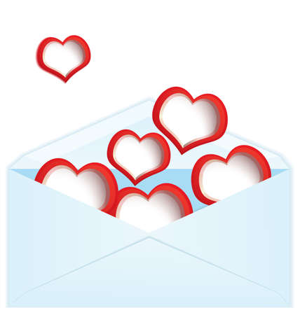 illustration of blue envelope filled with red hearts  Vector