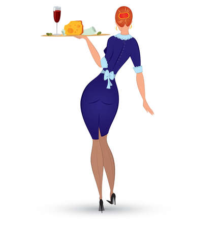 illustration of a slim waitress in blue uniform isolated on white