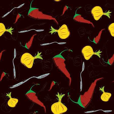 illustration of water colored onion pepper seamless pattern
