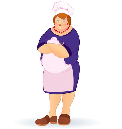 woman arms up: illustration of a overweight woman in cook uniform
